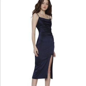 NAVY alice and olivia ruched midi dress